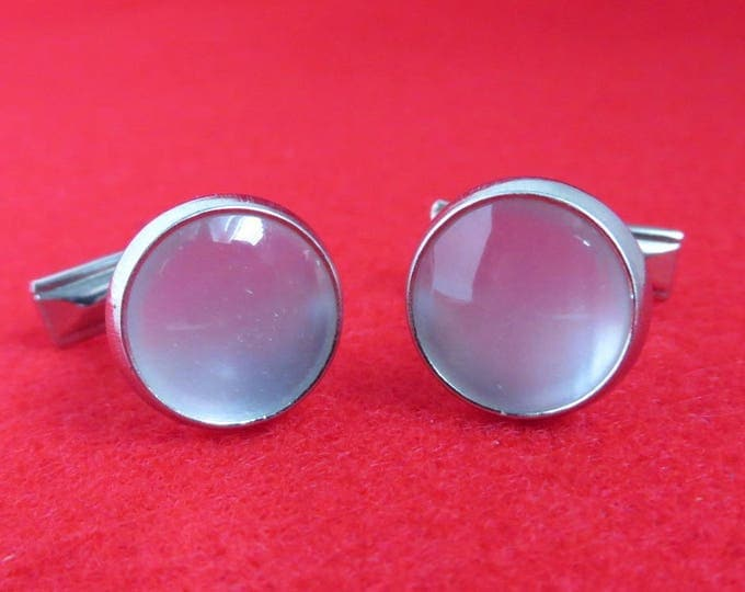 White Moonstone Cufflinks Vintage Silver Tone Round Cabochon Cuff Links Men's Formal Wear Suit Accessory Gift Idea