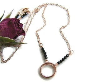 Choker gold dainty Rose gold choker Karma necklace Gold circle choker Black Spinel necklace Wife rose gold jewelry Girlfriend gold necklace