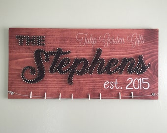 String Art Name Wall Hanging with Photo Hanging Display Wire and Painted Clothespins, Name String Art, Photo Wire String Art