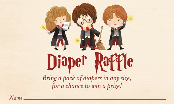 harry potter baby shower diaper raffle card harry potter