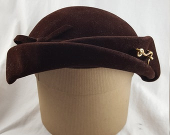 Vintage Pillbox Hat-Brown Velour