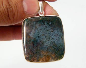 Green Moss Agate Pendant, Natural Gemstone Pendant, Silver Plated Pendant, Designer Handmade Pendant Jewelry SH-3459