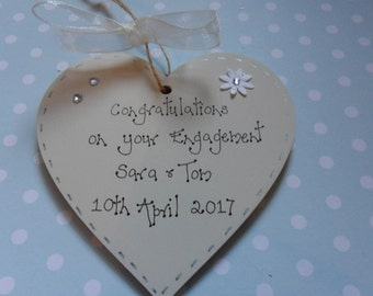 Engagement Wooden Heart Personalised 10cm