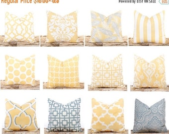 SALE ENDS SOON Yellow Pillows, Yellow Pillow Covers, Decorative Throw Pillows, Lumbar Pillow, Soft Yellow Pillowcase, Yellow Ikat Pillows