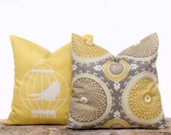 SALE ENDS SOON Yellow Bird Pillow, Taupe Circles Pillow Case, Decorative Throw Pillow Covers, Yellow Pillow Cover Set,  Set of 2, 20x20
