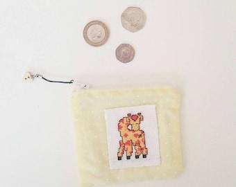 Giraffe Coin Purse, Small Yellow Purse, Giraffe Bag, Cross Stitch Purse, Cross Stitch Bag, Yellow Bag, Polkadot Purse, Coin Purse (072)