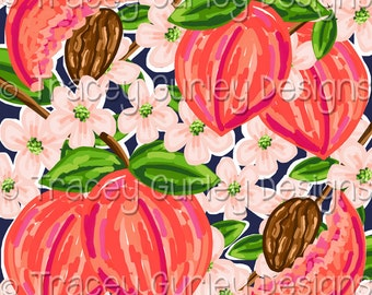Peach Print Design on Navy digital paper, Original Art, preppy print, watercolor digital paper, scrapbooking, invitation paper, preppy paper