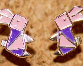 Childrens 925 Sterling Silver Enamel Origami Easter Rabbit Stud Earrings - ES8989