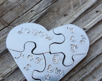 hand stamped Heart puzzle charm hand stamped jewelry sister necklace heart charms puzzle charms silver heart personalized jewelry