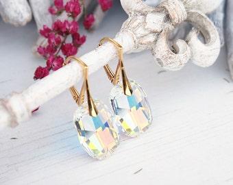 24k gold plated Swarovski ab crystal earrings Wedding bridesmaids bridal earrings Graphic Swarovski crystal  Drop earrings Clear crystal