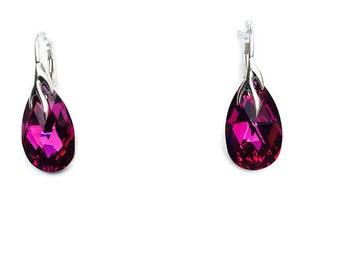 Fuschia Swarovski Crystal Sterling Silver Drop Earrings