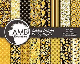 Gold Paisley Digital Papers, Shabby Chic, Vintage Paisley Papers, Gold and Black Floral Pattern, Scrapbooking Papers, AMB-1555