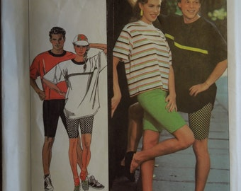 Simplicity 9570, sizes Xsmall to Xlarge, mens, womens, teens, stretch knits, pullover top, bicycle shorts