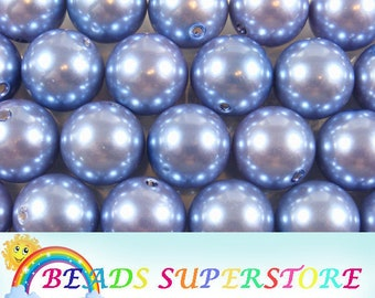SALE 20 mm Cornflower Blue Pearl Bubblegum Round Bead - Gumball Bead - Acrylic Chunky Bead - 10 pcs (CHP38)