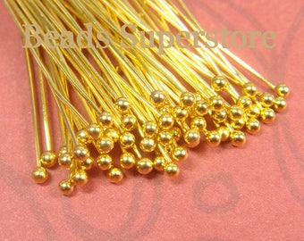 2.75 Inch (70 mm) Gold-Plated Brass Ball End Head Pin - Nickel Free and Lead Free - 60 pcs