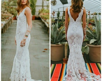 Boho wedding dress etsy crochet wedding dress boho wedding dress crochet lace wedding dress beach wedding dress junglespirit Choice Image