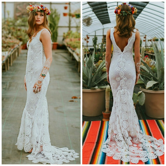 Bohemian Wedding Dress: Crochet Wedding Dress Boho Wedding Dress Crochet Lace