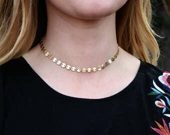 Gold coin choker - choker necklace - gold choker - gold choker necklace - choker necklace gold - chain choker necklace - gold disc choker