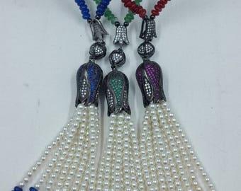 Jade, Pearl, & Gemstone Tassel Necklace