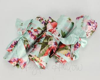 READY TO SHIP - Mint Green Floral Satin Robe - Bridesmaid Gift, Wedding Favor