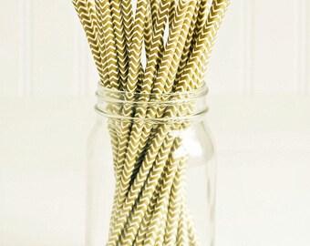 SALE Paper Straws in Metallic Gold & White Chevron - Set of 25 - Sparkle Shimmer Pretty Wedding Birthday Party Shower Accessories Decor