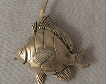 Vintage Sterling Silver Angel Fish Pin Sterling Fish Brooch Silver Angel Fish Pin