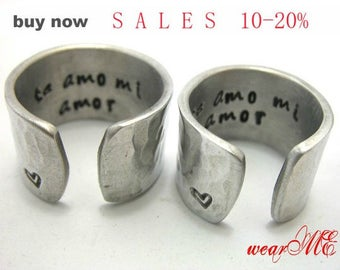 Customized/Personalized Rings- Couple Rings - Adjustable aluminum Ring.. Best Gift.. YOu WiLL LOvE iT