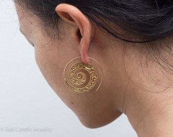 Barika Brass Earrings, Ethnic Spiral Hoop Earrings.