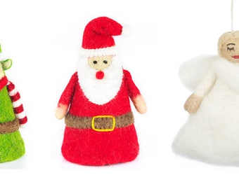 Tree Topper - Felt Characters - Needle felted Ornaments - Christmas - Wool felt - Xmas Tree Decorations- Merino -Ethical-Handmade