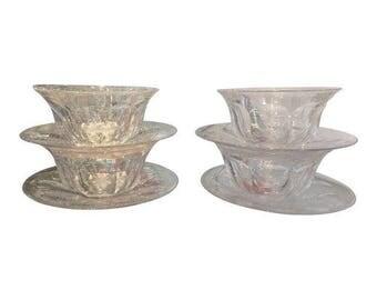 Antique Hawkes Crystal Finger Bowls & Under Plates - Set of 4
