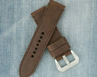 24mm Watch strap, 24mm leather watch strap, 24mm panerai band, leather watch band,panerai, brown strap, 24mm brown strap, 24mm Panerai strap