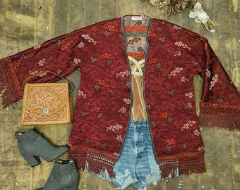 Vintage Brocade Throwover Coat in Burgundy with an Oriental Vibe