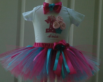 Pink and Blue 1st Birthday Outfit, Pink and Blue Tutu Outfit, Cupcake First Birthday Outfit,Aqua and Gold 1st Birthday Outfit