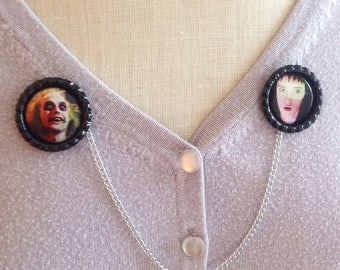 Beetlejuice & Lydia Deetz Sweater Guard/Brooch/Cardigan Jewelry/Spooky/Horror/Halloween/Gothic/Goth/Ghosts/Pinup/Rockabilly/Accessories