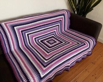 Purple Throw Blanket Purple Blanket Throw For Sofa Blanket Throw Boho Blanket READY TO SHIP