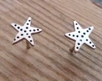 Silver star earrings, starfish