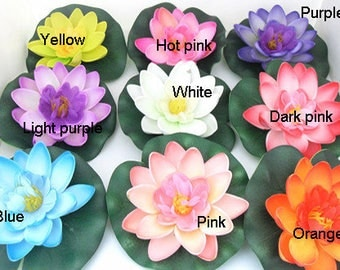 Free Shipping(12pcs/lot) Artificial PE Foam Lotus flowers Water Lily Floating Pool Plants Wedding Decoration
