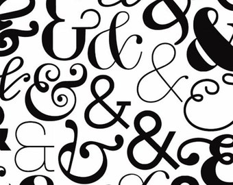 Half Yard Ampersand - Large Ampersand in White - Cotton Quilt Fabric - Ampersand Design Studio for Windham Fabrics - 39743-2 (W3568)