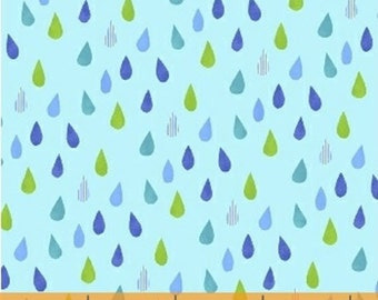 Half Yard Color and Count - Raindrops in Light Blue - Rain Drops Cotton Quilt Fabric - Jill McDonald for Windham Fabrics - 40675-2 (W3637)