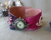 Ladies genuine Leather wristwatch womens watch folkladies watch made with silk lace and beads black and pink ideal for metal allergy