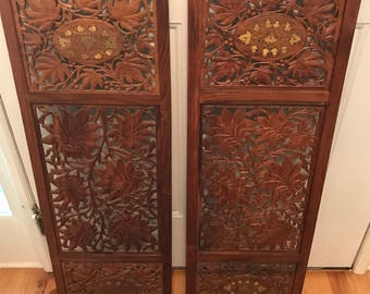Antique Indian wall panels - carved wood with inlaid gold accents