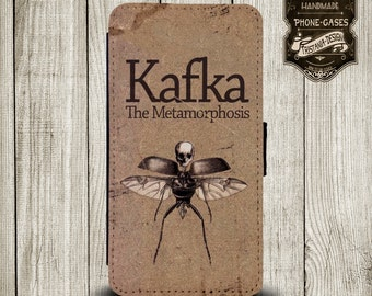 "Handytasche, Leather Wallet Phone Case  iPhone & Samsung,Sony Xperia "" Kafka Metamorphosis"""