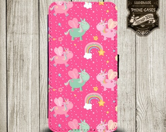 "Handytasche, Leather Wallet Phone  Case  iPhone & Samsung,Sony Xperia "" pink Einhorn"""