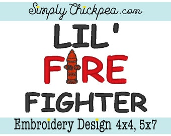 Embroidery Design - Lil Fire Fighter - Fire Extinguisher - Perfect for Baby Bodysuits and Bibs - Firefighter - For 4x4 and 5x7 Hoops