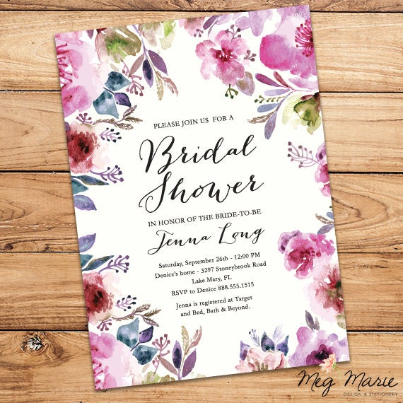 bright pink purple floral bridal shower invitation customizable bridal shower invitation 5