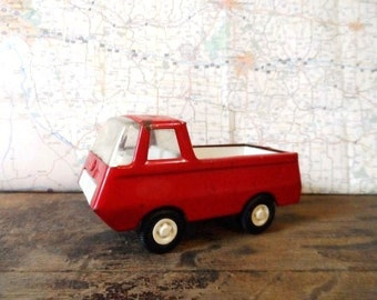 Mini TONKA Toys Red Delivery Pickup TRUCK-Original-Retro Metal Toy Truck-Vintage Play Toy-Boys Play-Metal Vehicle-Orphaned Treasure-020117B