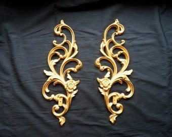 Vintage Hollywood Regency Style Scroll Wall Hangings-Flowers-Pair Retro Home Decor Plaques- Syroco-Gold Tone-Orphaned Treasure-032817F