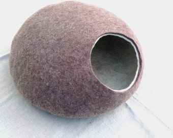 Cat bed/cat cave/cat house/Light Brown with White felted cat cave/ any colors (With GIFT cat toy)