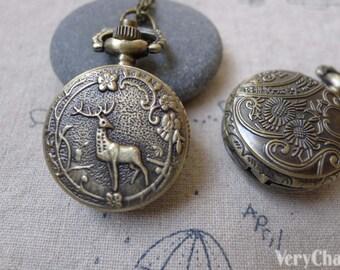 1 PC Antique Bronze Deer Flower Pocket Watch 27x27mm A7198