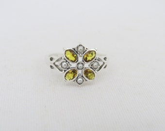 Vintage Sterling Silver Natural Citrine & Seed Pearl Ring Size 8
